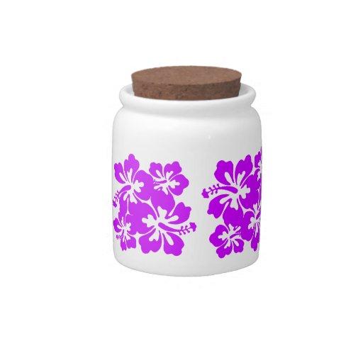 Tarro púrpura del caramelo del hibisco platos para caramelos