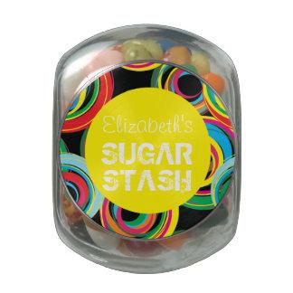 Tarro retro colorido del escondite del azúcar del  frascos de cristal