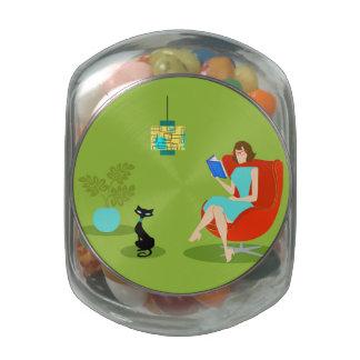 Tarro retro del caramelo de la mujer de la lectura frascos de cristal