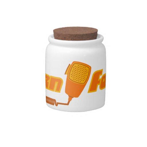Tarro retro del caramelo de la radio CB de Ten-Fou Platos Para Caramelos