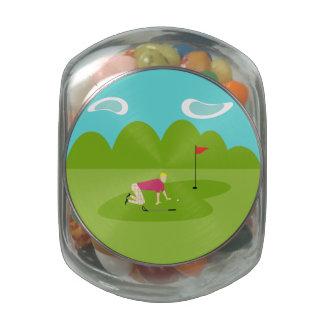 Tarro retro del caramelo del golfista jarrones cristal