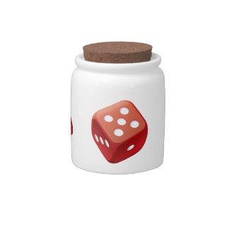 Tarro rojo de los dados plato para caramelo