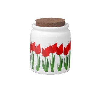 Tarro rojo del caramelo de los tulipanes jarra para caramelo