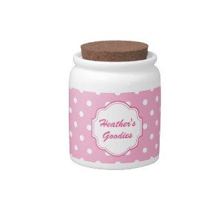 Tarro rosado de encargo del caramelo del lunar platos para caramelos