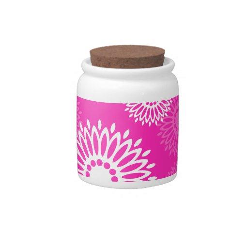 Tarro rosado del caramelo de las flores del verano jarra para caramelo