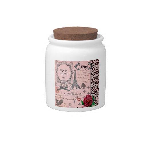Tarro rosado del collage de París del vintage Jarra Para Caramelo