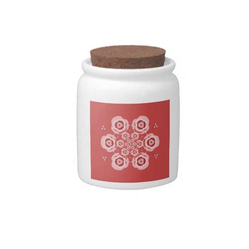 Tarro rosado lindo del caramelo de la meditación d platos para caramelos