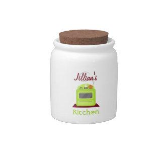 Tarro verde retro del caramelo de la estufa jarras para caramelos