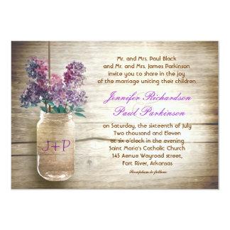 tarro y flores de albañil del vintage que casan la invitación 12,7 x 17,8 cm