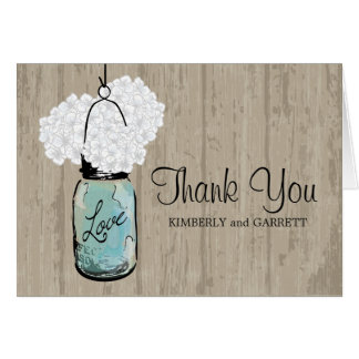 Tarro y Hydrangeas azules rústicos de albañil Felicitaciones