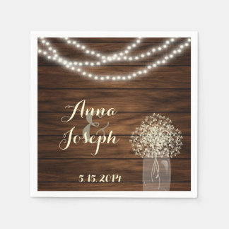 Tarro y luces de albañil que casan la servilleta servilletas de papel