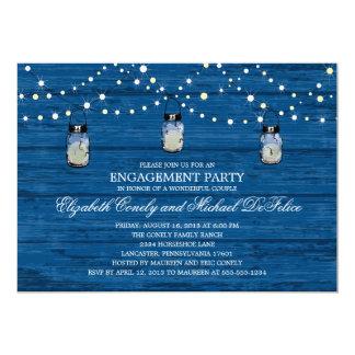 Tarro y luces de madera rústicos de albañil del invitaciones personalizada