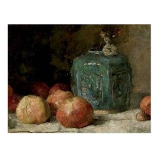 Tarro y manzanas, bella arte del jengibre de tarjeta postal