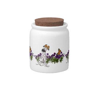 Tarros dálmatas del caramelo de las flores de mari jarra para caramelo
