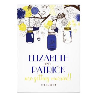 Tarros de albañil de los azules marinos y del invitación 12,7 x 17,8 cm