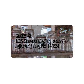 Tarros de albañil - etiquetas de dirección