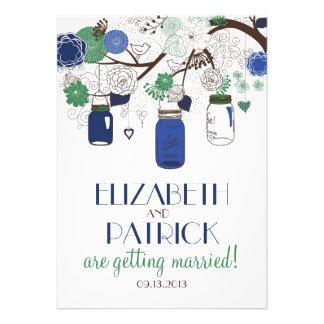 Tarros de albañil florales azules y verdes que comunicados personalizados