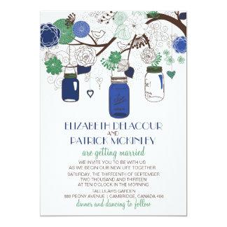 """Tarros de albañil florales azules y verdes que invitación 5"""" x 7"""""""