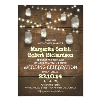 tarros de albañil rústicos e invitaciones ligeras invitación 12,7 x 17,8 cm