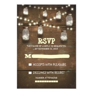 tarros de albañil rústicos y tarjetas ligeras de R Invitaciones Personalizada
