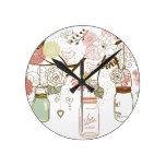 Tarros de albañil y flores bonitas relojes de pared