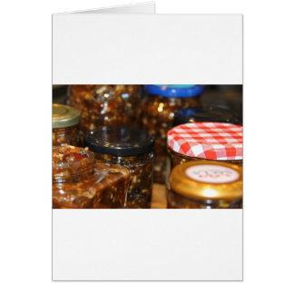 Tarros de carne picado tarjeta de felicitación