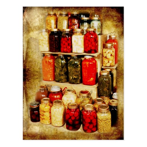 Tarros de comida hogar-conservada tarjeta postal