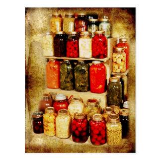 Tarros de comida hogar-conservada tarjetas postales