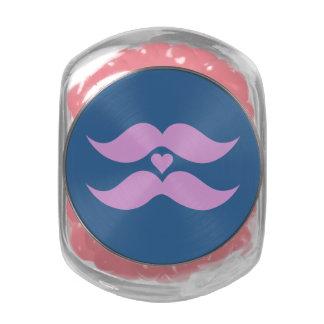 Tarros de encargo y latas de los bigotes rosados frascos de cristal