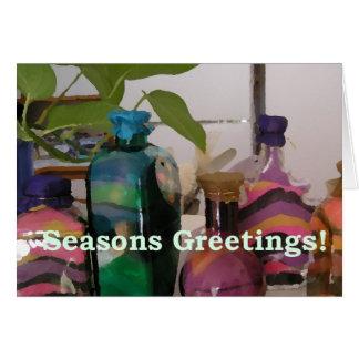 Tarros de la arena del navidad tarjeta de felicitación