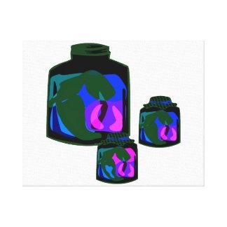 Tarros de pimientas de la púrpura del verde azul lona estirada galerias