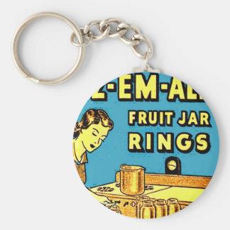 Tarros retros de los anillos de cauchos del tarro  llavero redondo tipo pin