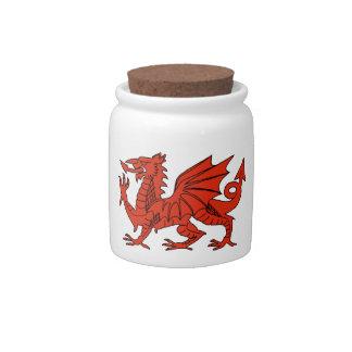 Tarros rojos del caramelo del dragón Galés Jarras Para Caramelos