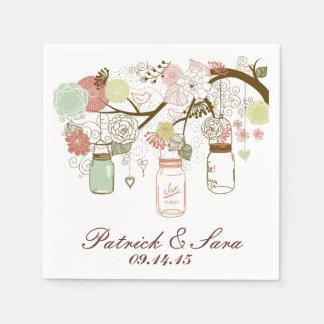 Tarros y flores de albañil del boda servilletas de papel