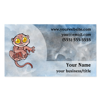 Tarsier Lemur Business Card - Blue and Gray