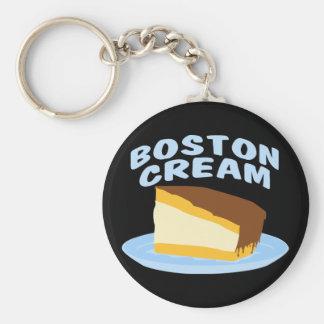 Tarta de crema de Boston Llavero Redondo Tipo Pin