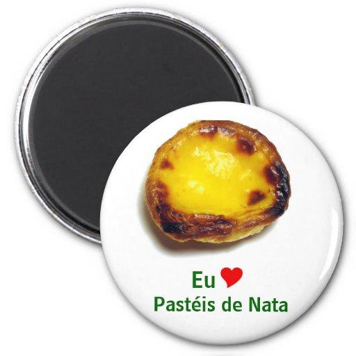 Tarta portuguesa de las natillas imanes de nevera