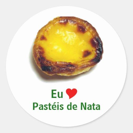 Tarta portuguesa de las natillas pegatina redonda