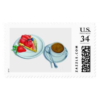 Tarta y café de la baya sello postal