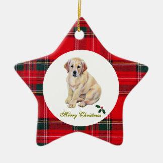 Tartán amarillo del perrito de Christms Labrador Adorno Navideño De Cerámica En Forma De Estrella