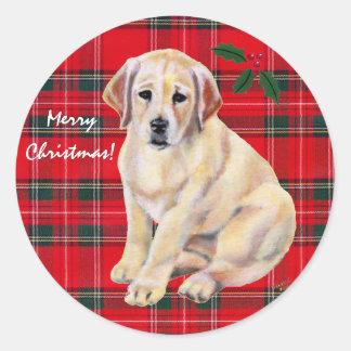 Tartán amarillo del perrito de Labrador del navida Pegatinas Redondas