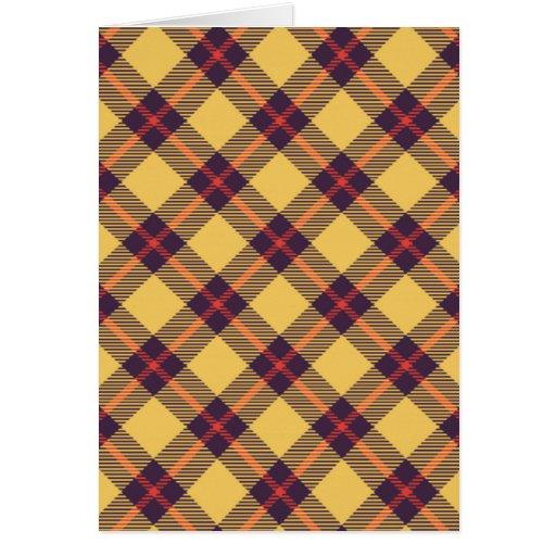 Tartán amarillo, púrpura y rojo tarjetas