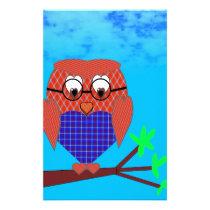 Tartan and Hearts Owl Stationery