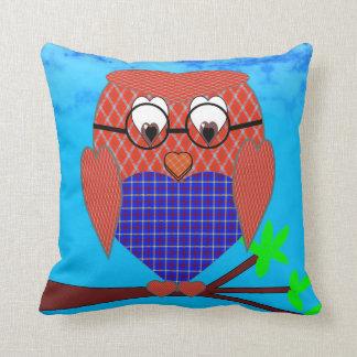Tartan and Hearts Owl Throw Pillow