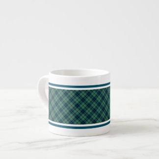 Tartán antiguo azul claro y verde del clan de taza espresso