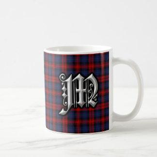 Tartán azul rojo del monograma de la letra M de Taza De Café