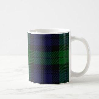 Tartán azul y verde de Sunderland del escocés Taza Básica Blanca