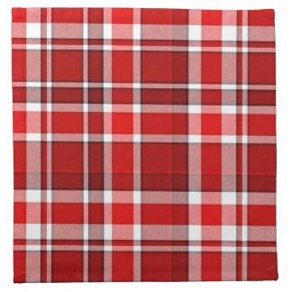 Tartán blanco rojo de la tela escocesa servilleta