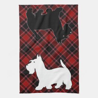 Tartán blanco y negro rojo de Terrier del escocés Toallas De Cocina