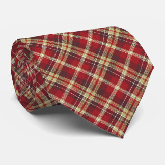 Tartan Check Plaid Red Two-Sided Neck Tie